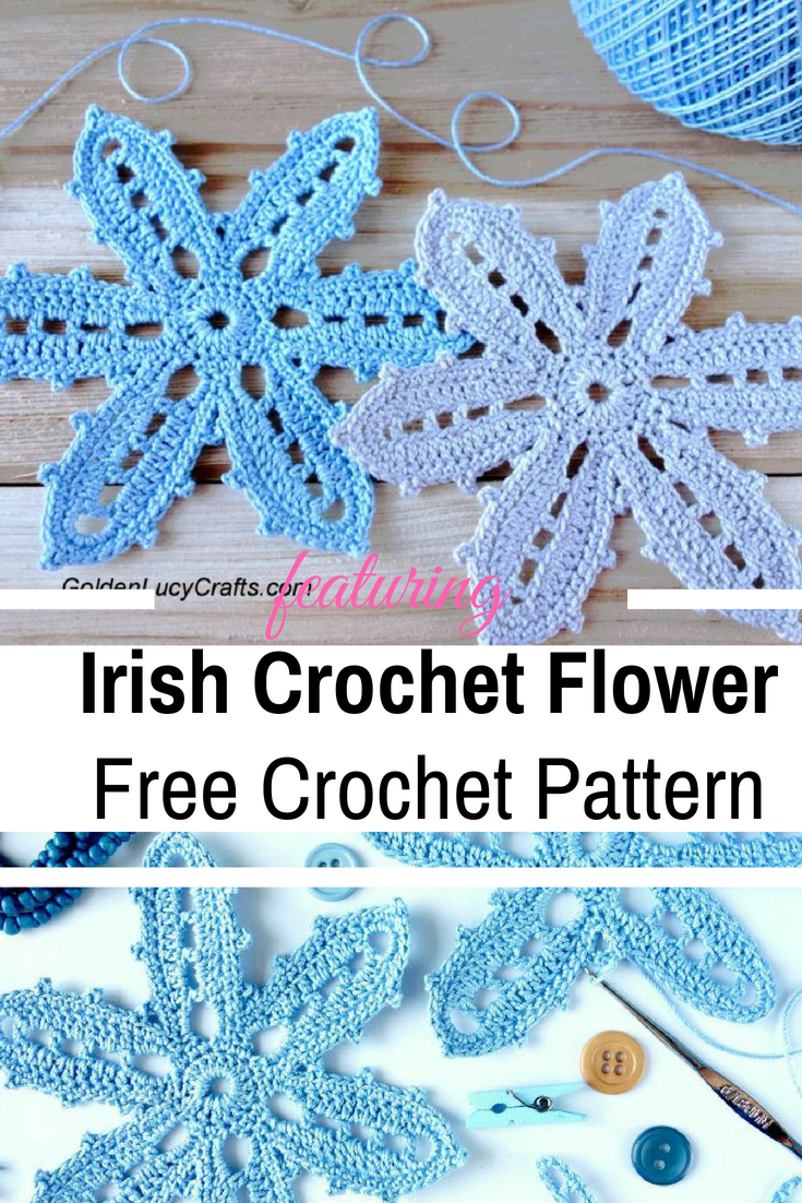 Beautiful Irish Crochet Flower Free Pattern