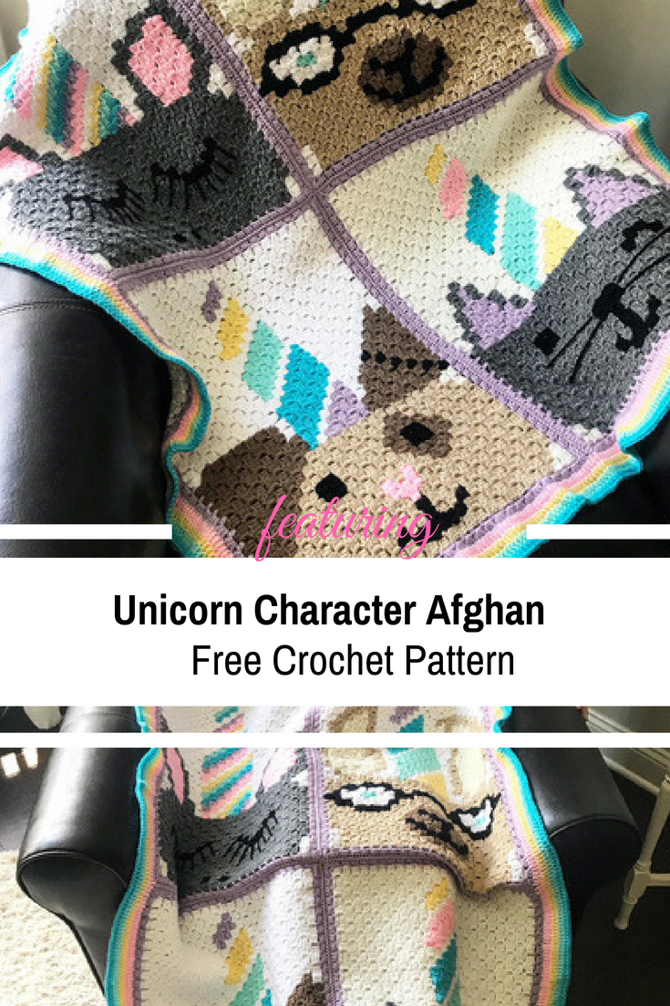 Unicorn Character Afghan Free Crochet Pattern