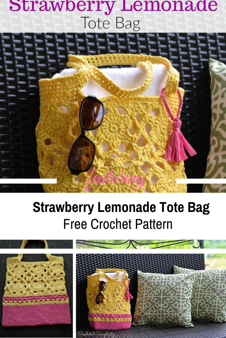 Strawberry Lemonade Tote Bag Free Crochet Pattern