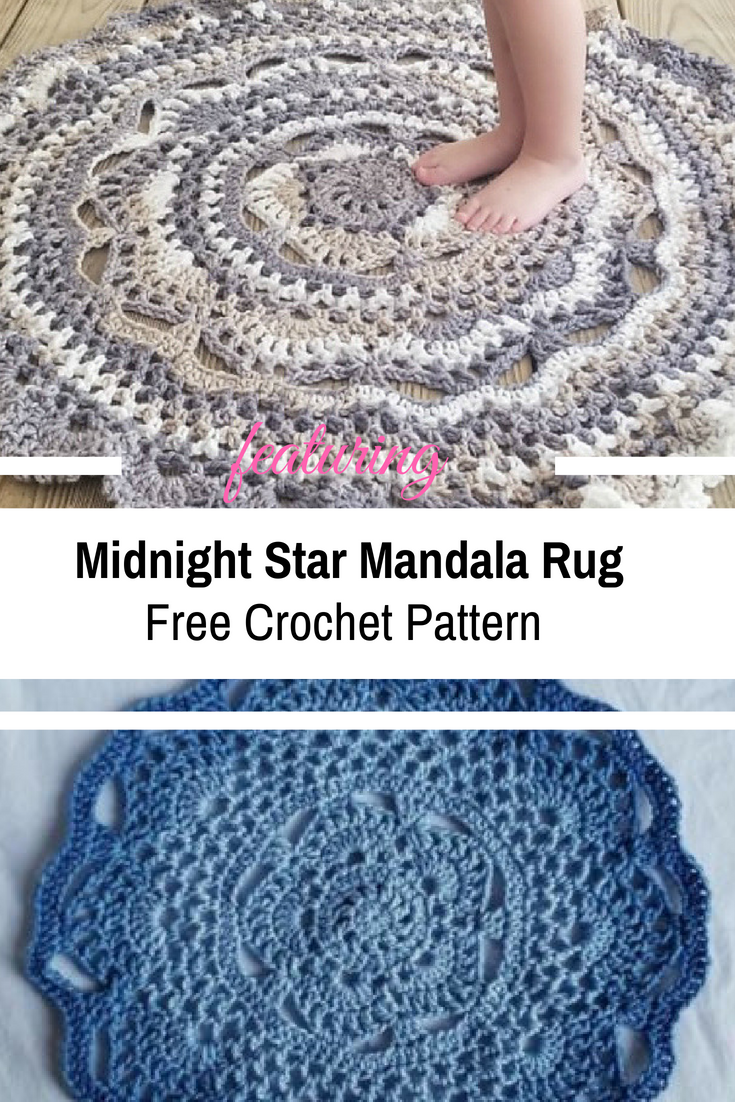 Midnight Star Mandala Rug Is The Perfect Accent Piece To Any Room In Your Home [Free Pattern]