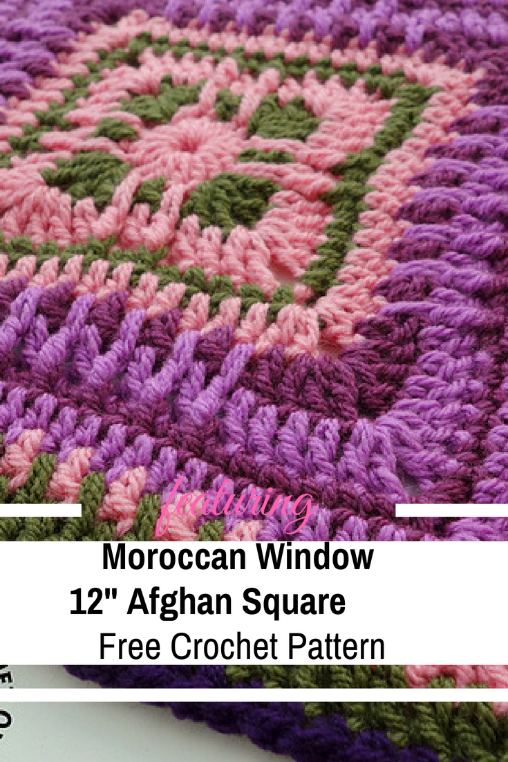"Moroccan Window 12"" Afghan Square Free Crochet Pattern"