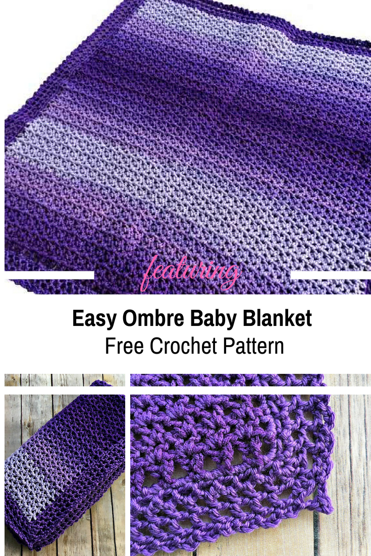 [Free Pattern] 2 Skeins Easy Ombre Baby Blanket You Can Work On While Watching TV Or Riding In The Car