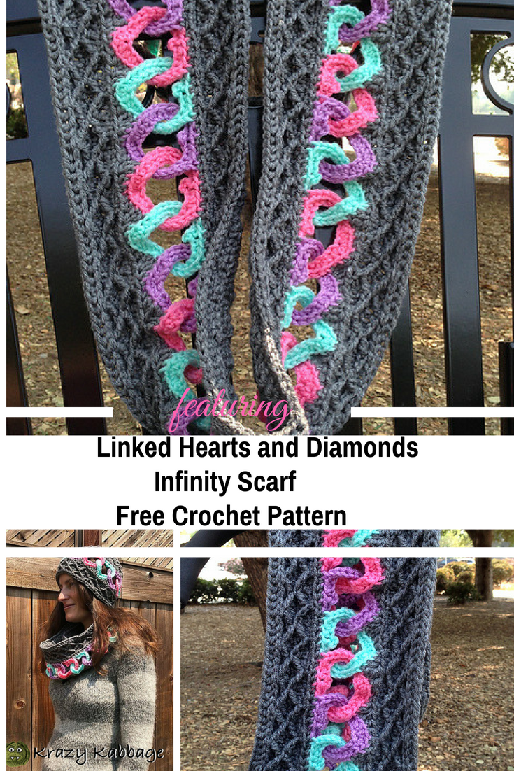 [Free Pattern] This Linked Hearts And Diamonds Infinity Scarf Adds Graceful Elegance To Every Outfit
