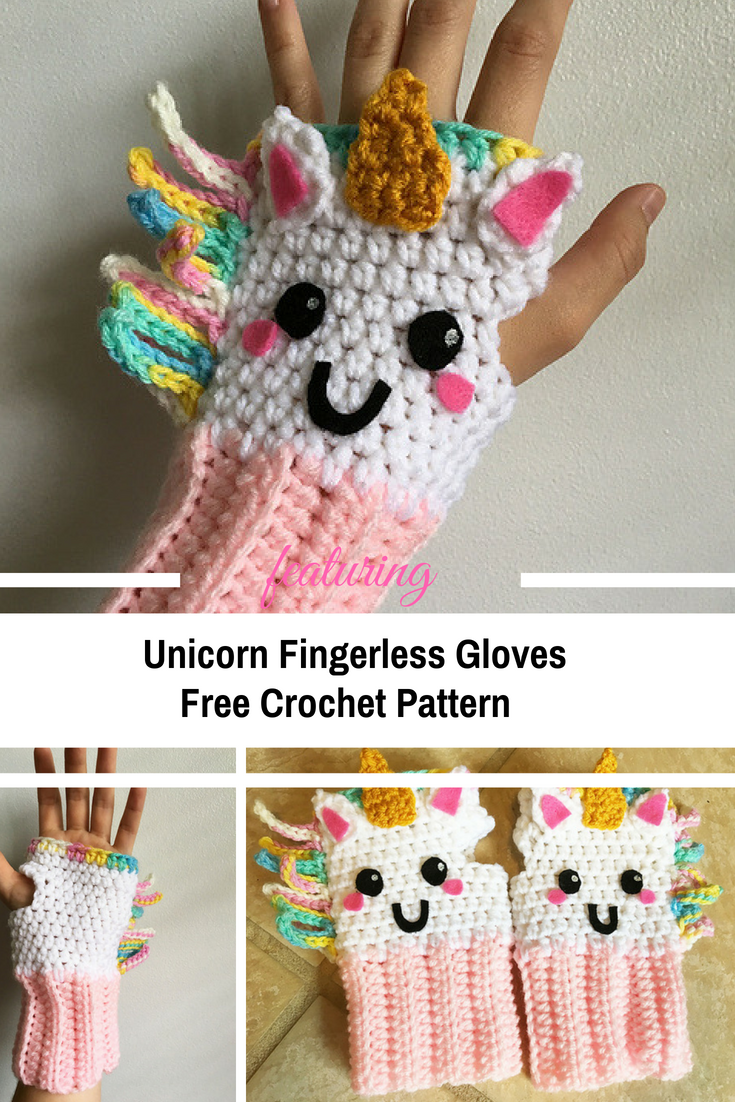 Colorful, Unique And Weather Friendly Unicorn Fingerless Gloves [Free Pattern]