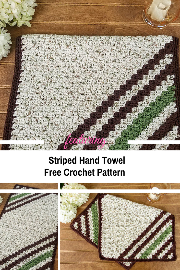 Thick And Lush Striped Hand Towel [Free Pattern] - Knit And Crochet ...