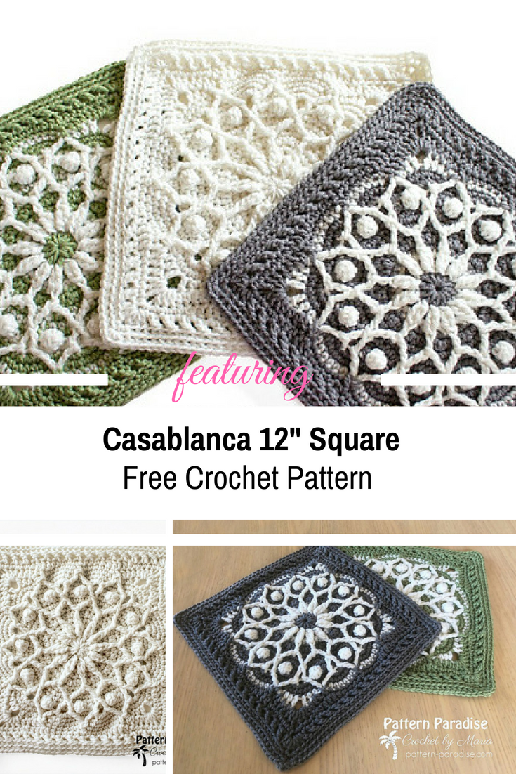 """Lovely 12"""" Square With Overlay Crochet To Create The 3D Effect [Free Pattern]"""