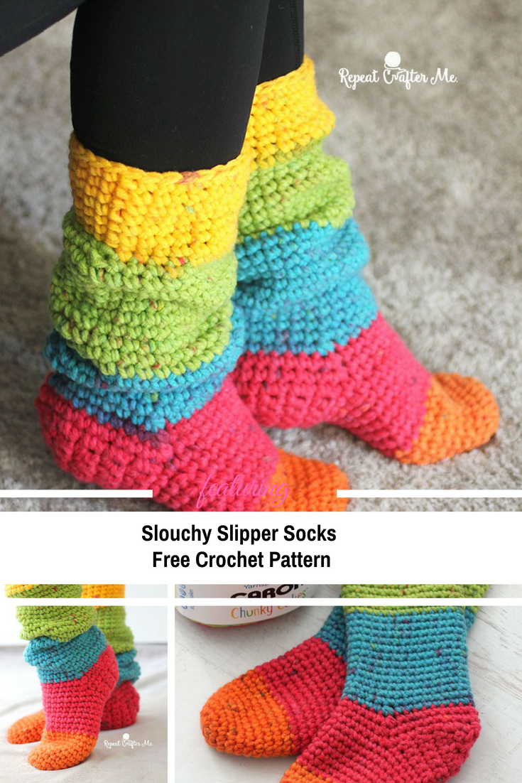 Quick And Easy Slouchy Slipper Socks [Free Pattern]