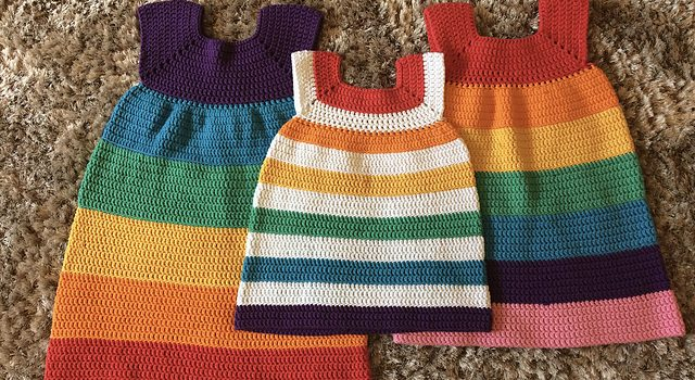Simple And Cute Rainbow Dress Free Pattern Knit And Crochet Daily