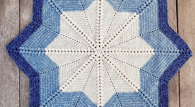 Elegant And Simple 8 Point Star Baby Blanket Free Crochet Pattern