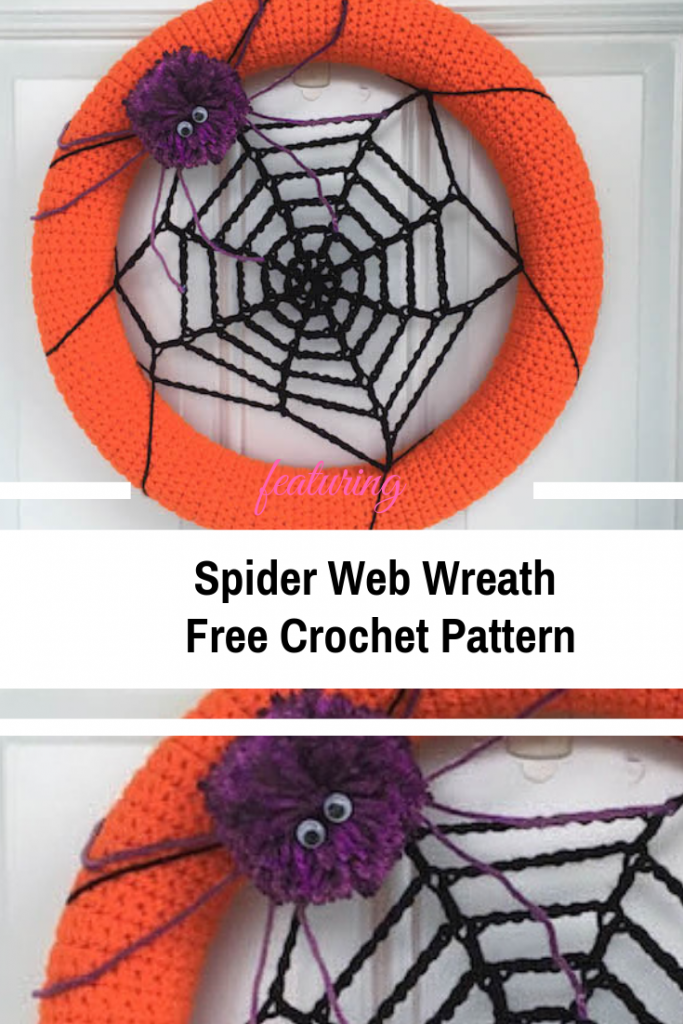 Halloween Crocheted Spider Web Wreath Free Pattern