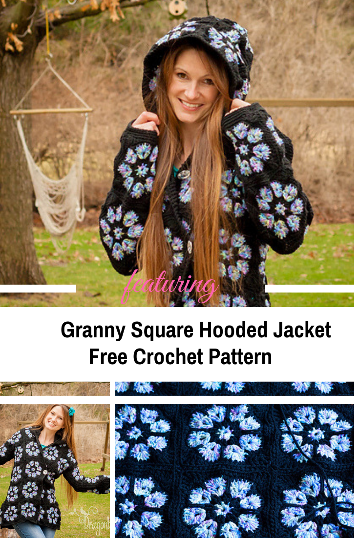 Easy Crochet Granny Square Hooded Jacket Free Pattern Knit And