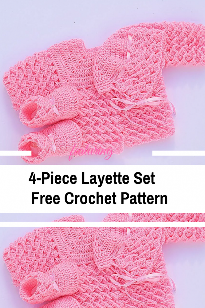 4-Piece Baby Layette Set Free Crochet Patterns & Video Tutorials