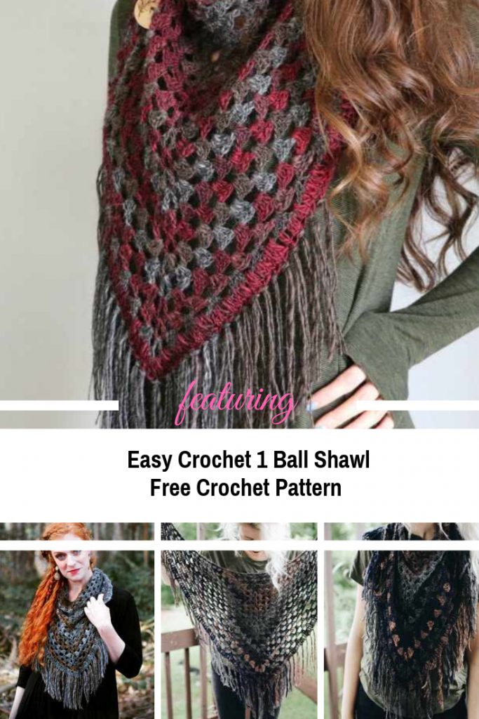 Easy Crochet One Ball Shawl To Spice Up Your Fall Look