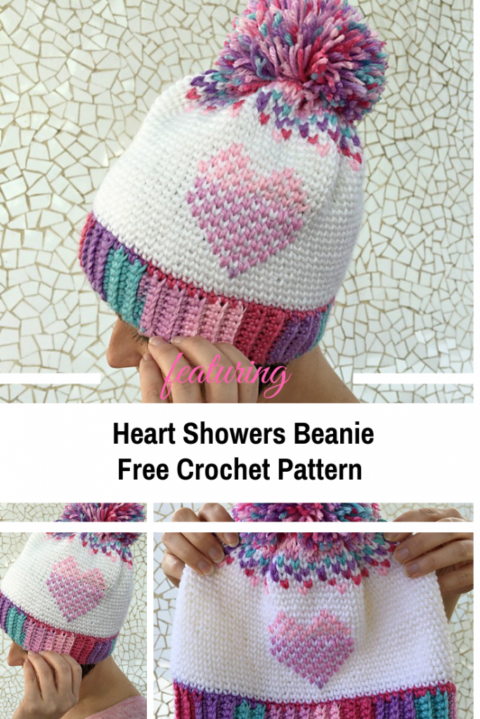 Crochet Heart Beanie Pattern Full Of Color And Contrast