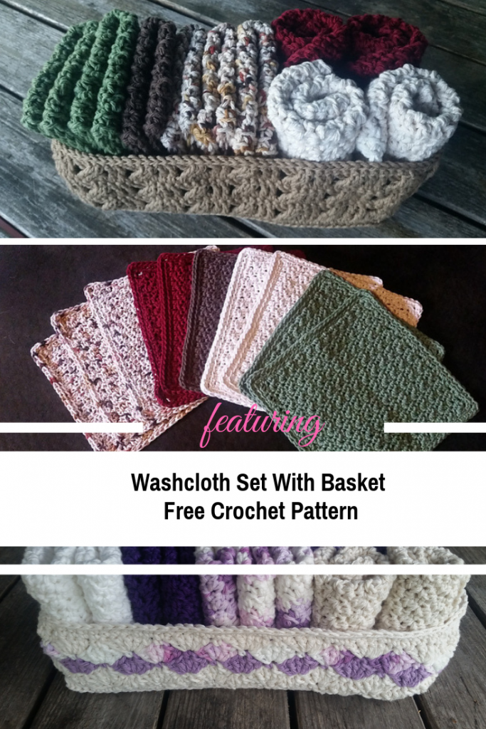 [Free Pattern] Very Simple Washcloth Set With Basket Crochet Pattern