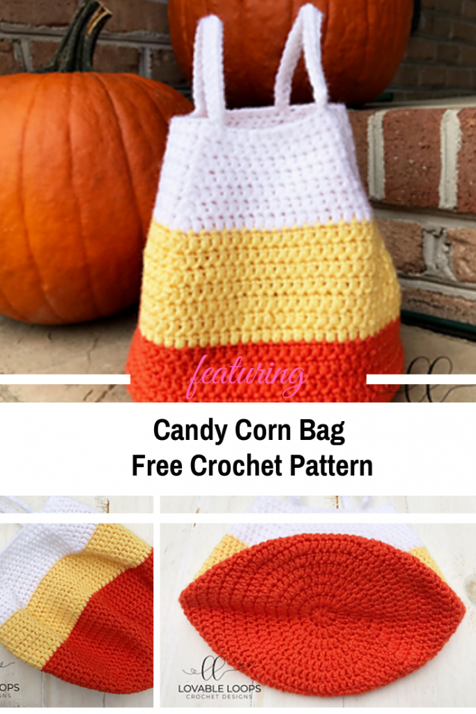 [Free Pattern] Easy Crocheted Candy Corn Bag Pattern