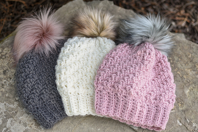 How To Make Faux Fur Pom Poms For Hats+ Beanie Free pattern