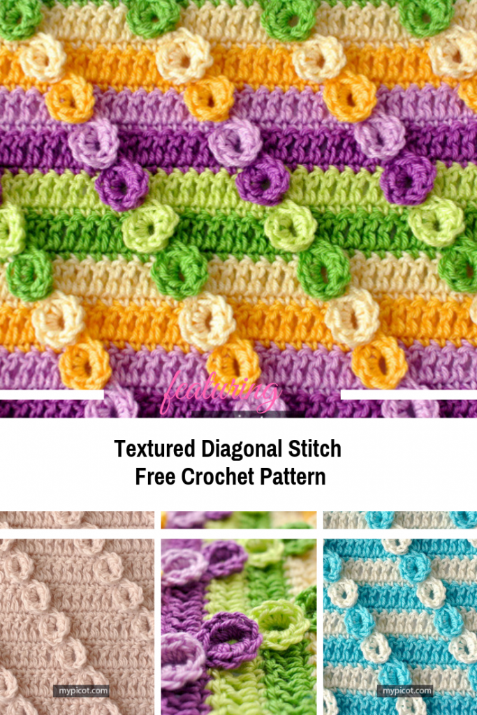Crochet Textured Diagonal Stitch Free Pattern