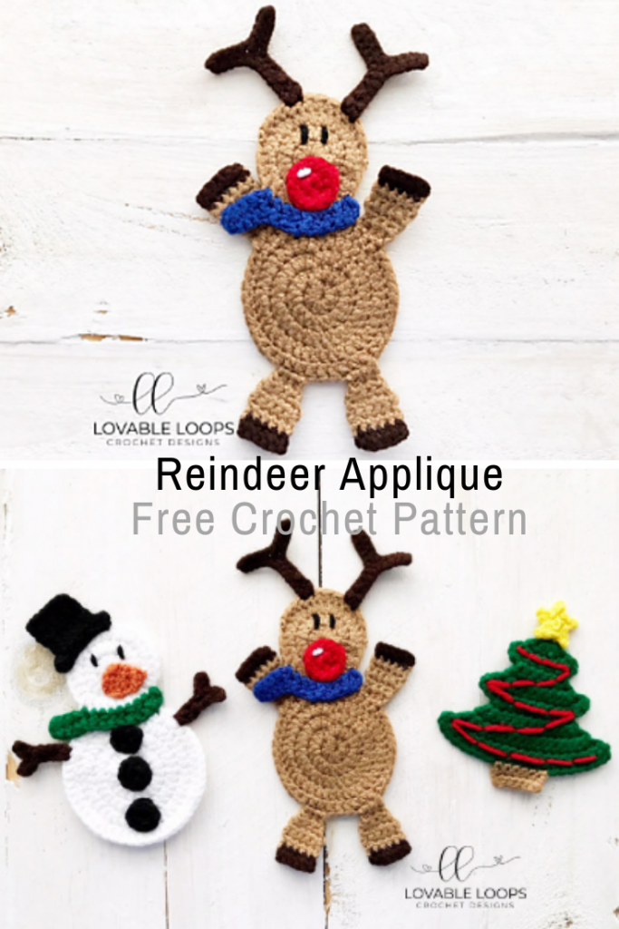 Adorable Crochet Reindeer Applique Pattern
