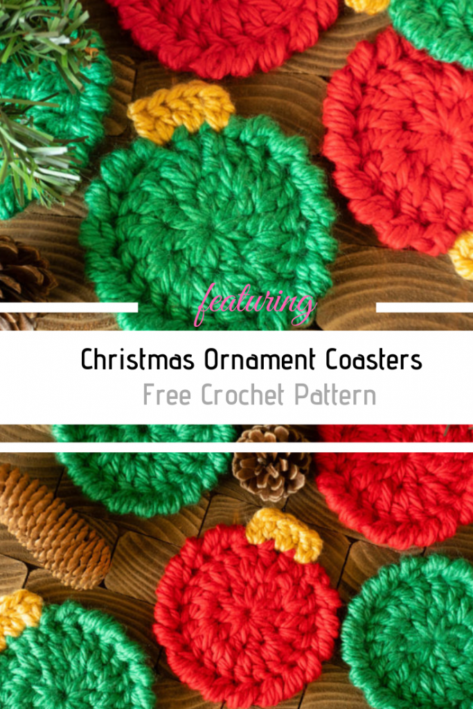 Christmas Ornament Coasters – Free Crochet Pattern