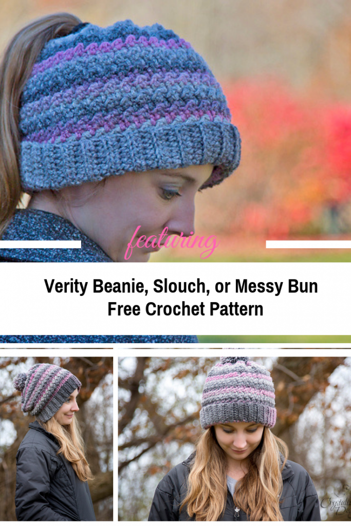 Three In One Crochet Ponytail Hat Free Pattern For All