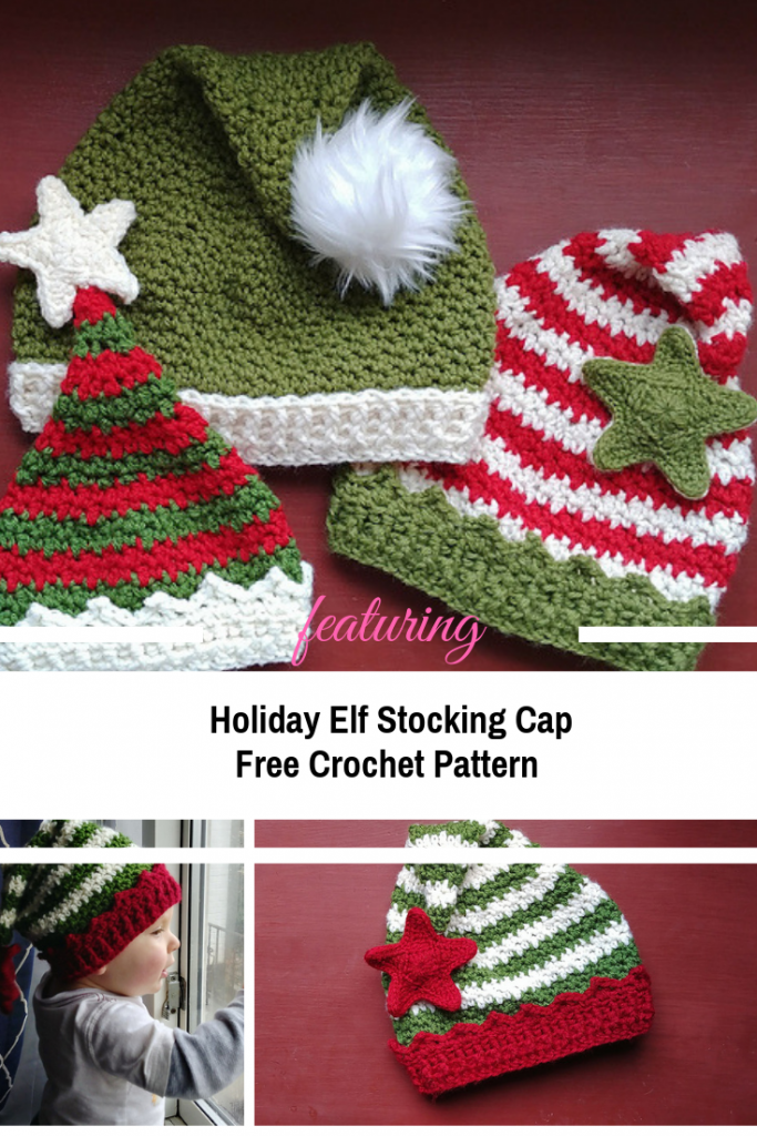 Absolutely Adorable Holiday Elf Stocking Cap Crochet Pattern