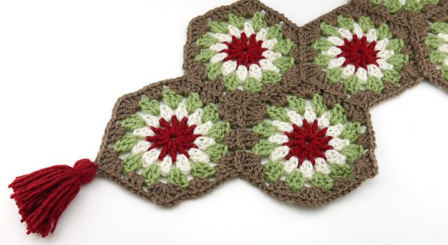 Festive Crochet Granny Square Table Runner Pattern With