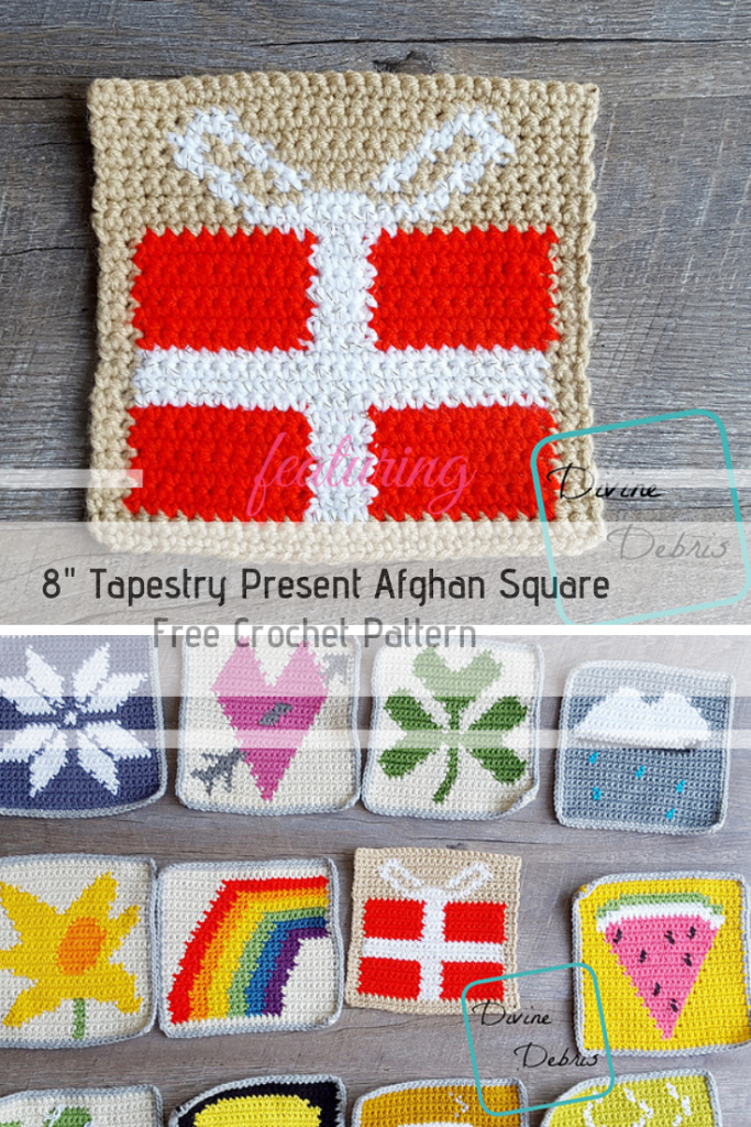 8″ Tapestry Present Afghan Square Free Crochet Pattern For A Fun Birthday Or Christmas-Themed Blanket