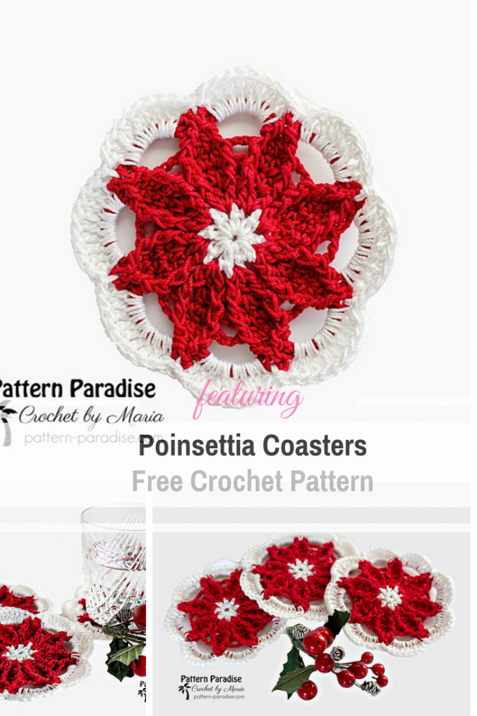 Add A Bit Of Festive Cheer To Your Holiday Table With These Poinsettia Coasters