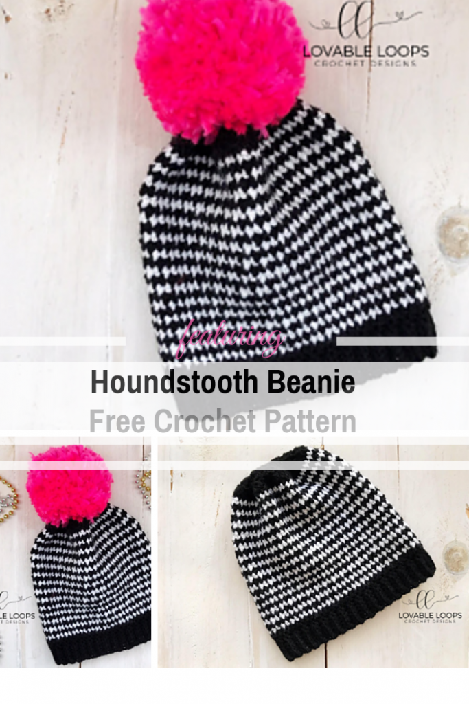 Quick And Easy Houndstooth Beanie Free Crochet Pattern