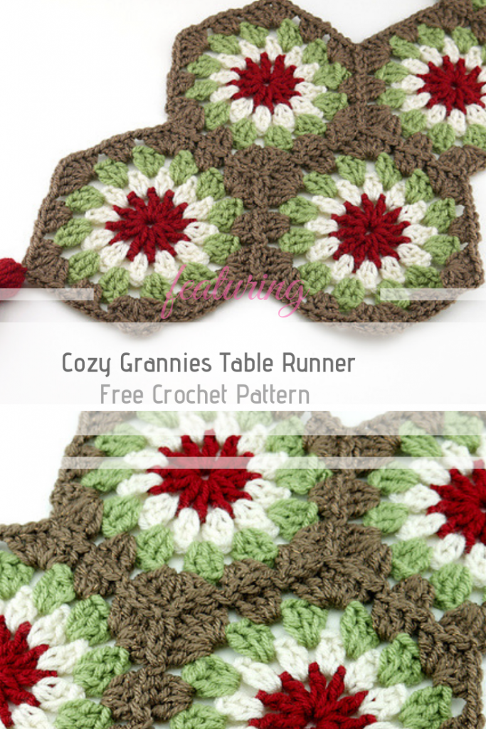 Festive Crochet Granny Square Table Runner Pattern With Pretty Tassels