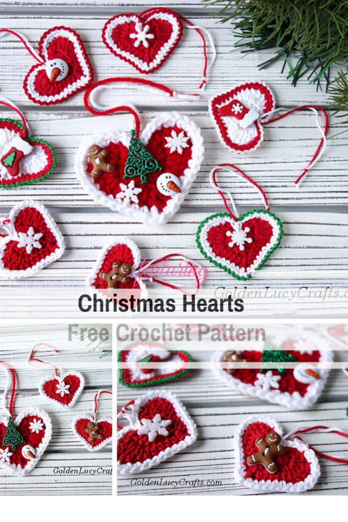 Cute Hearts Free Christmas Ornament Crochet Patterns For An Ultra Stylish Holiday