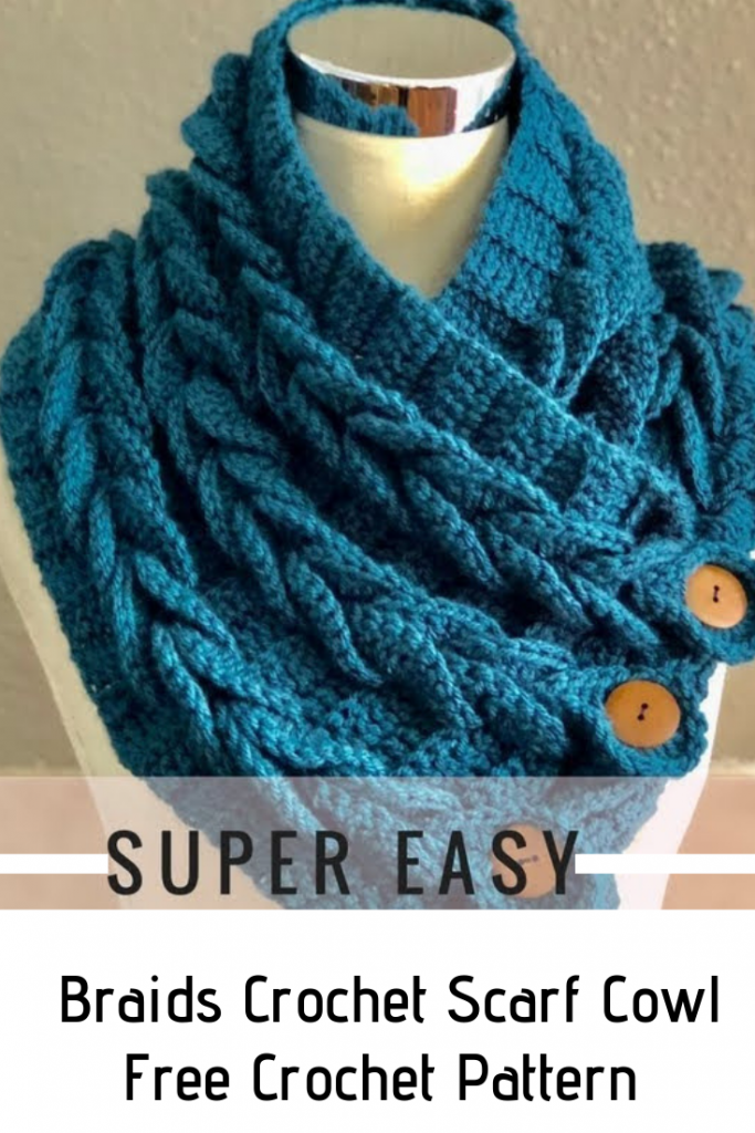Easy Braided Crochet Cowl With Buttons