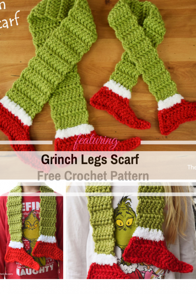Fun And Fabulous Grinch Legs Scarf Free Crochet Pattern To Help Put You Into The Holiday Mood