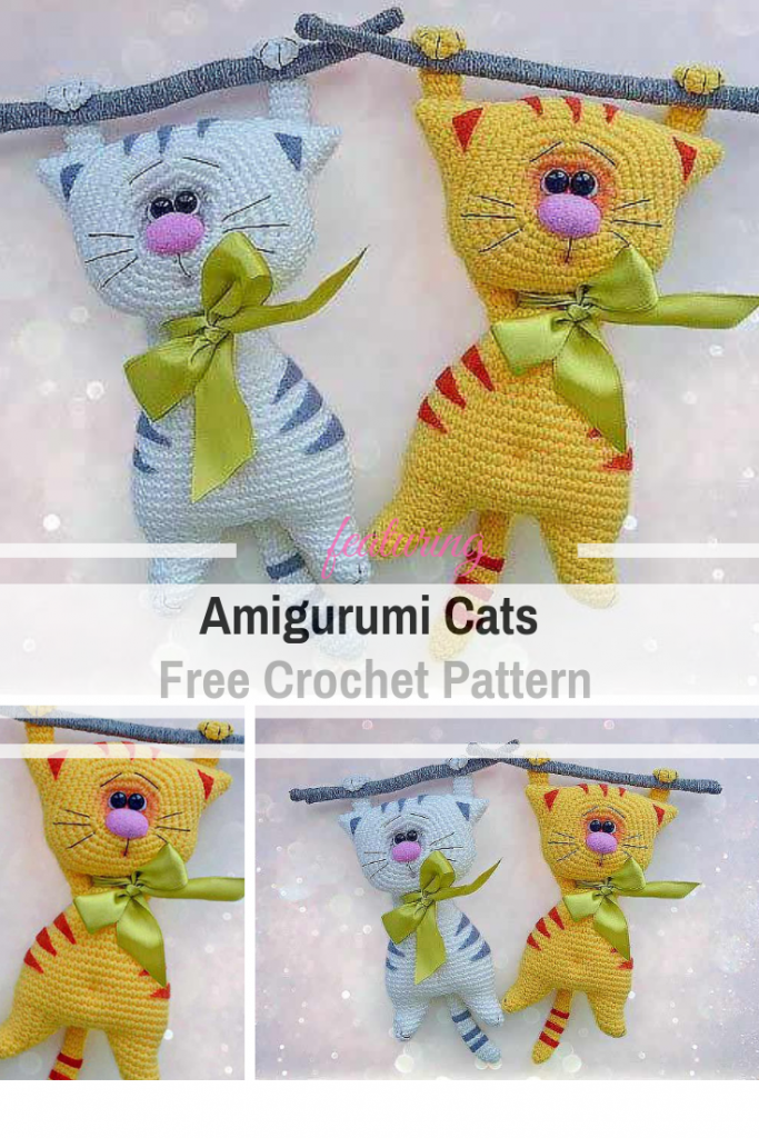 Cutest Amigurumi Cats Free Crochet Pattern With Funny Cats Pals Hanging Off A Thin Branch