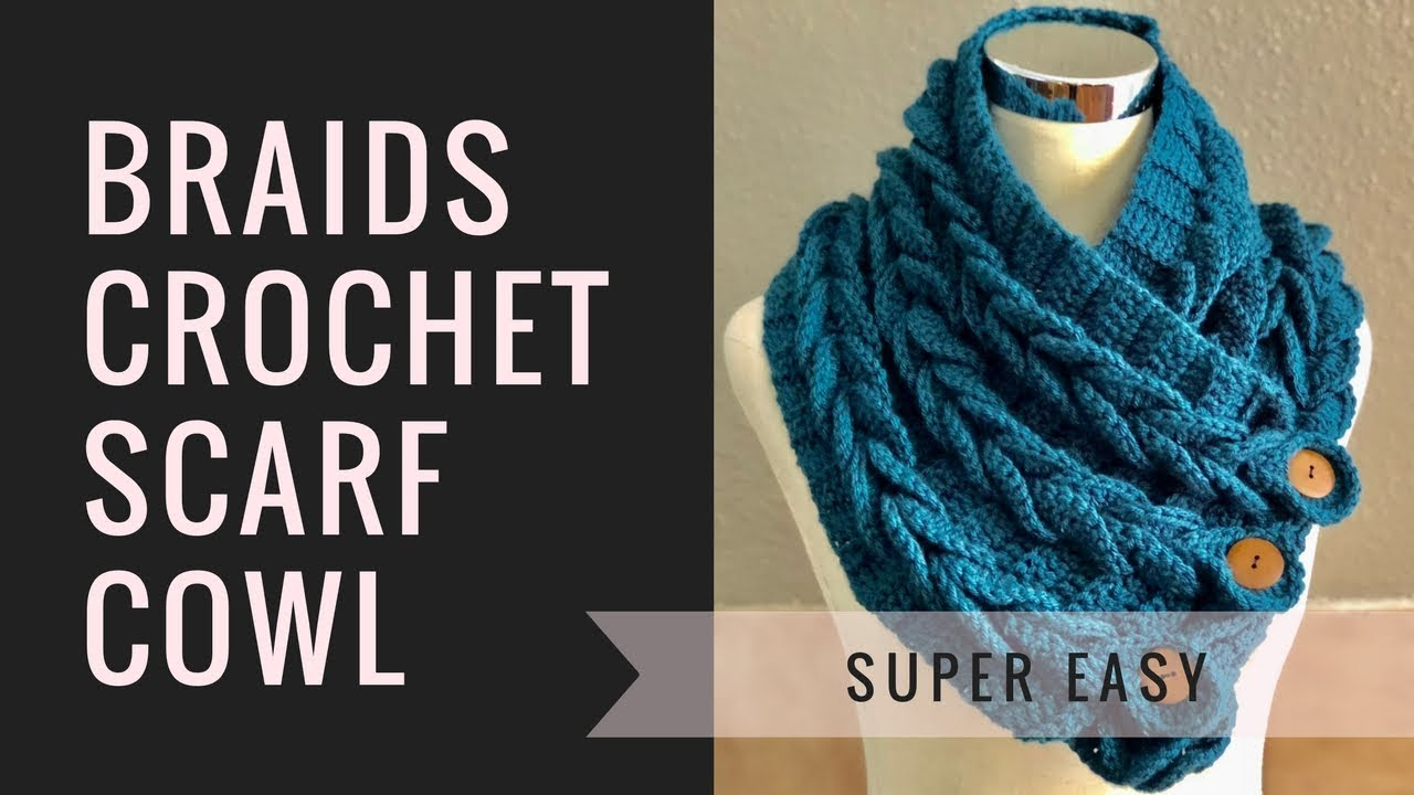 Easy Braided Crochet Cowl With Buttons Video Tutorial