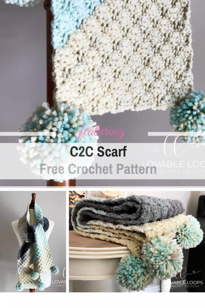Cozy And Warm C2C Scarf Free Crochet Pattern
