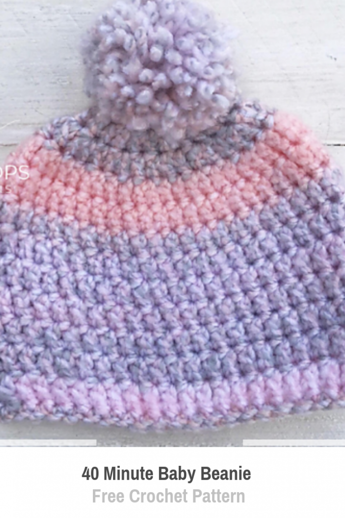 Easy 40 Minute Baby Beanie Free Crochet Pattern For Beginners