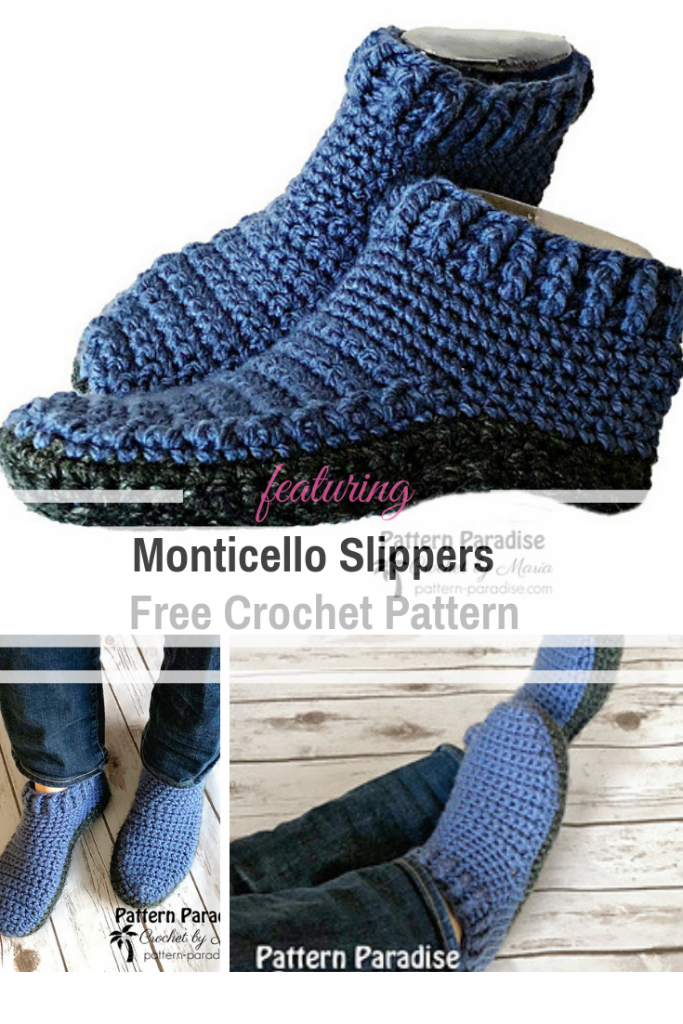 Quick Double-Sole Slippers Free Crochet Pattern For Women And Men