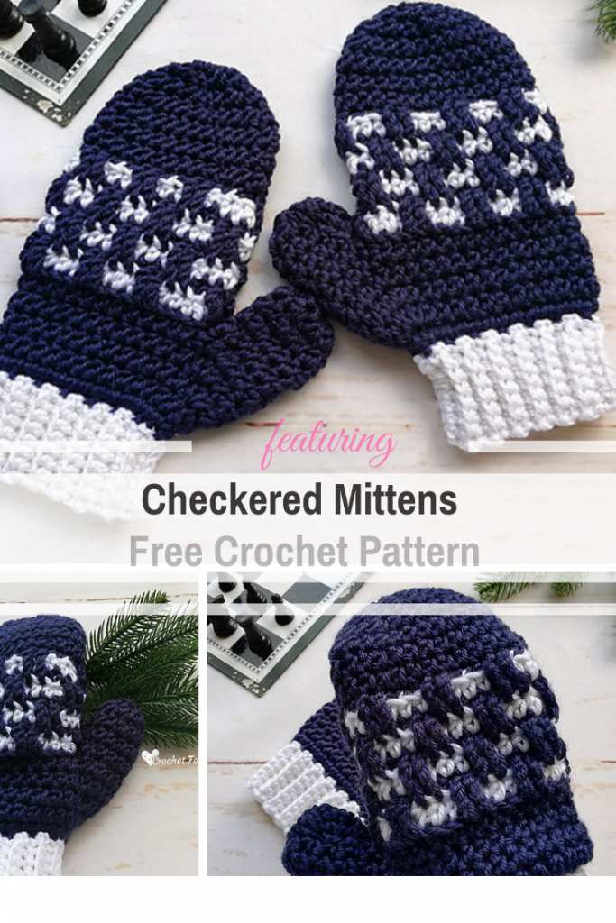 [Free Pattern] Crochet Mittens With Unique Checkered Texture