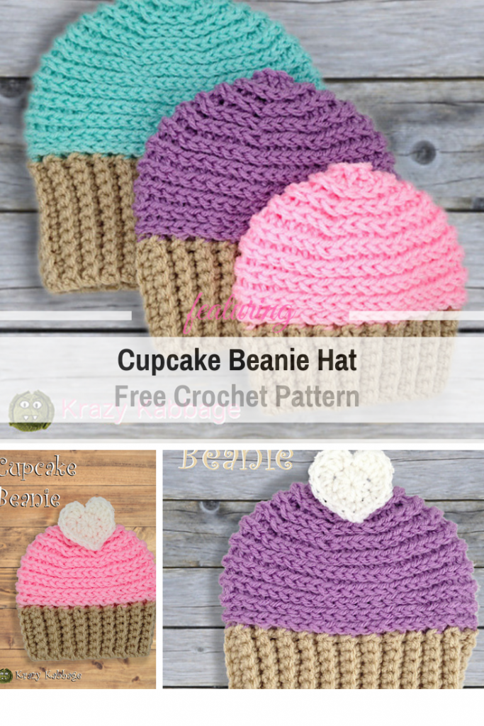 f6203b907c9 Pretty Amazing Cupcake Beanie Hat Free Crochet Pattern - Knit And ...