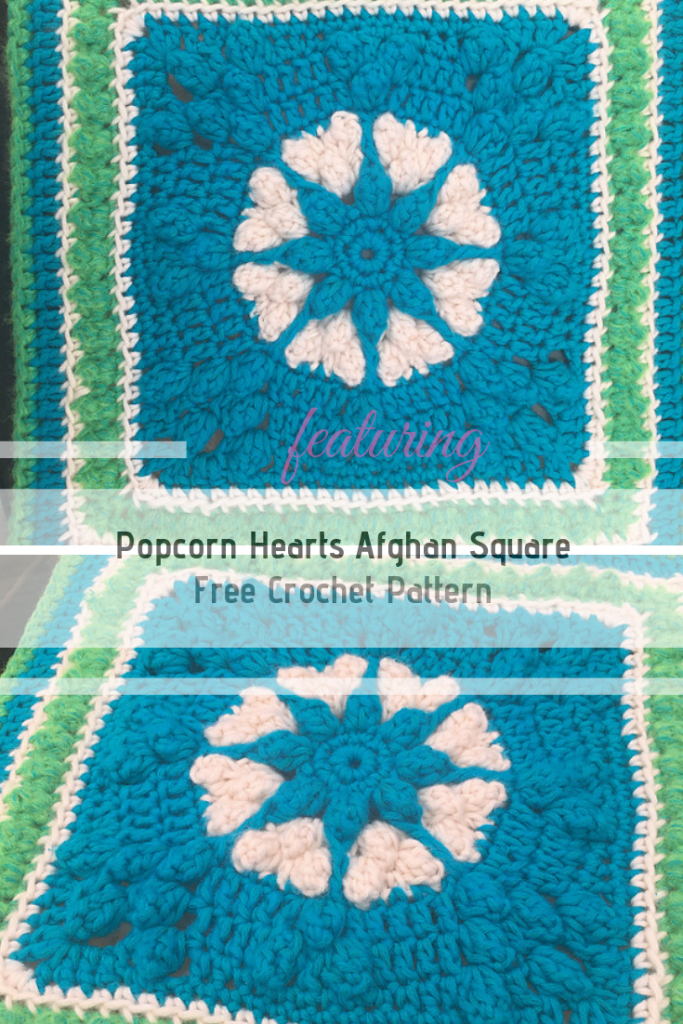 Fun And Easy Popcorn Hearts Afghan Square Free Crochet Pattern