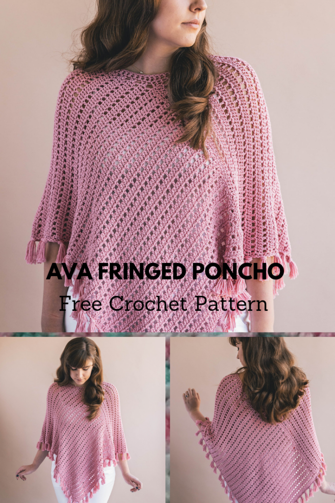 How To Crochet A Simple Poncho With Tassel Style Fringe