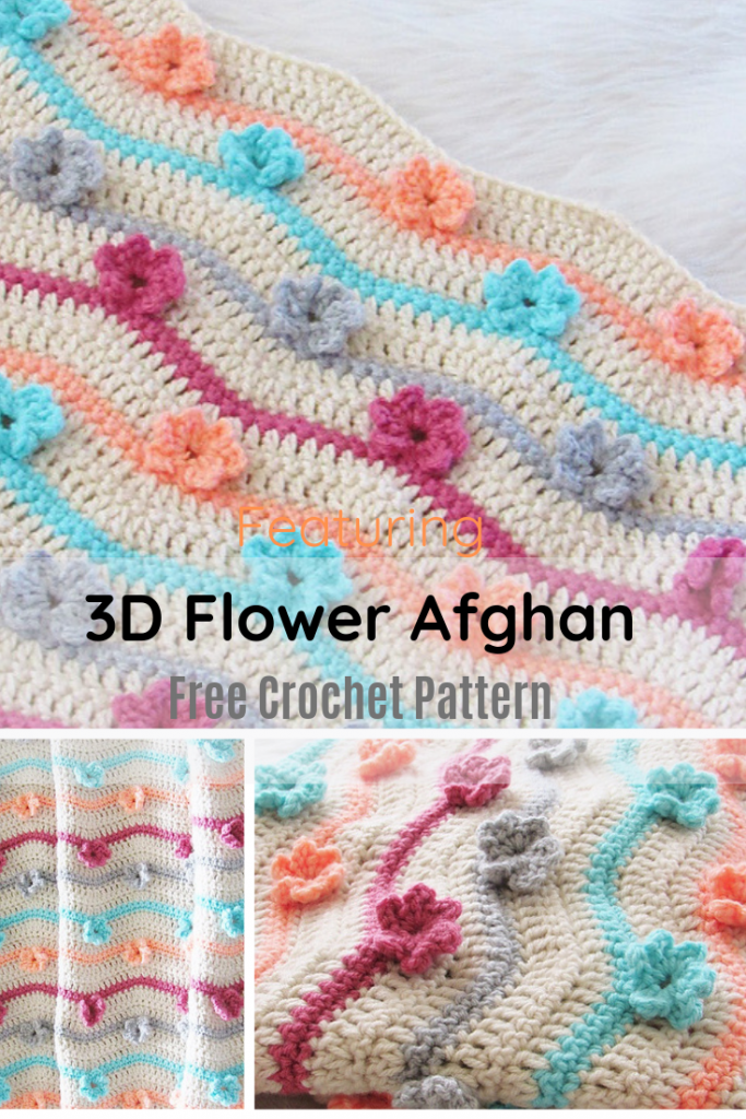 Adorable Crochet 3D Flower Afghan
