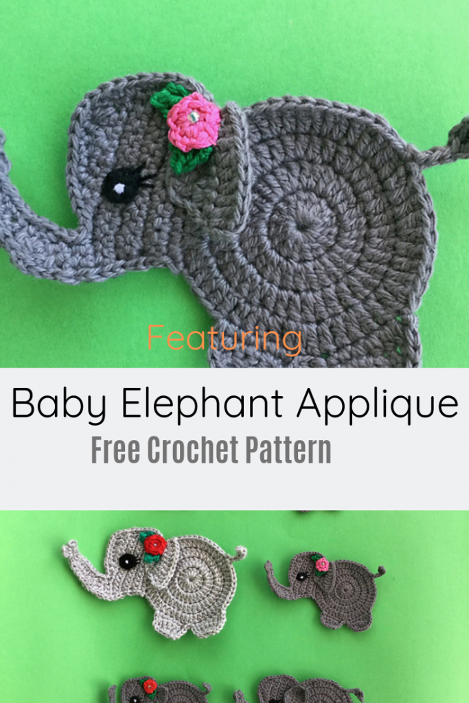Adorable Crochet Elephant Applique Free Pattern
