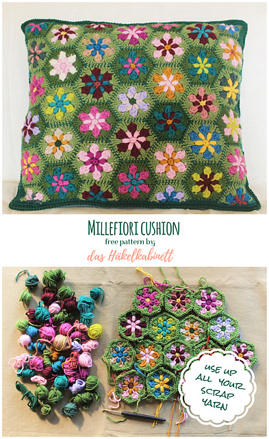 Gorgeous Flower Cushion Pattern To Use Up Your Leftover Scrap Yarn