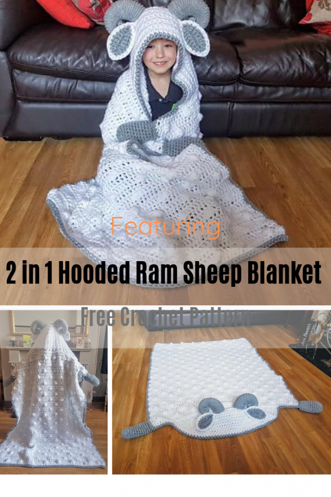 Absolutely Adorable Crochet Ram Sheep Hooded Blanket Free Pattern