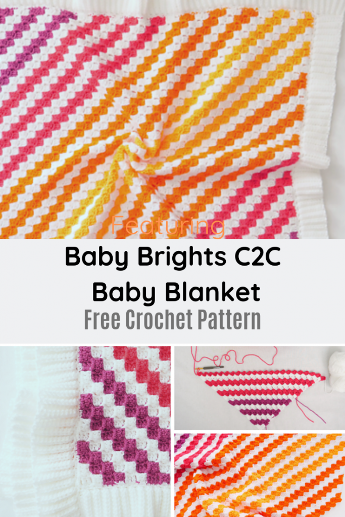 Beautiful C2C Colorful Striped Blanket Free Crochet Pattern