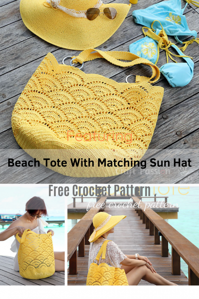 Awesome Crochet Beach Tote With Matching Sun Hat