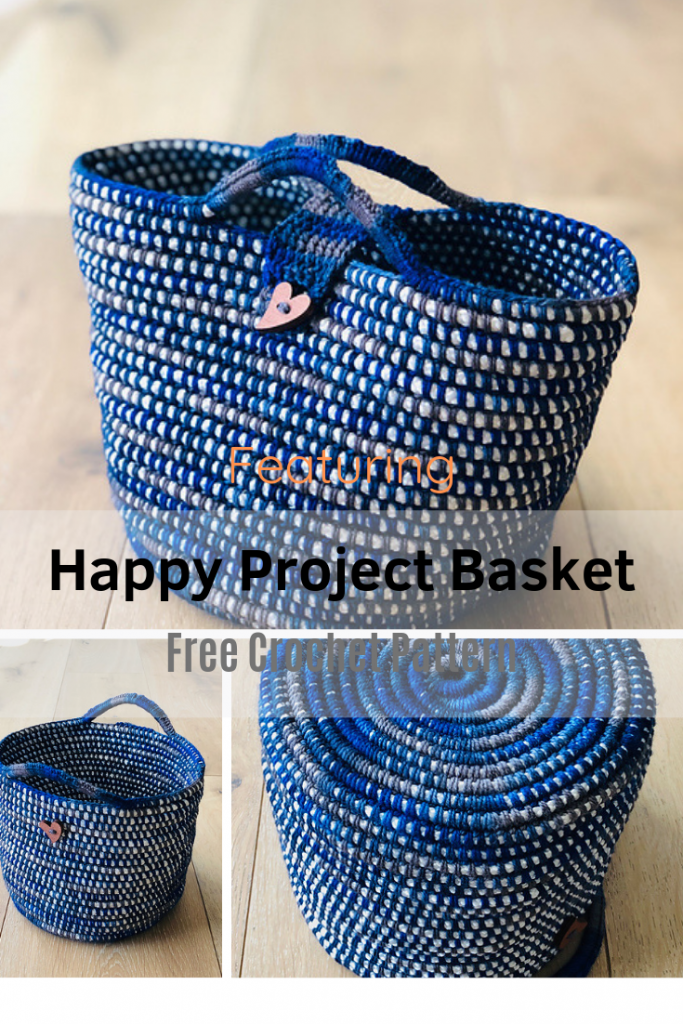 Round Crochet Basket With Handles And Closure